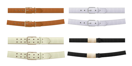 Set of different buttoned leather belts in white, brown and black with metal buckles. A set of belts with buckles, fashion accessories and clothing design elements. Isolated vector illustration.