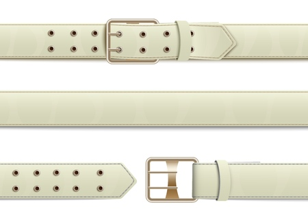 Buttoned, open and closed white leather belt with metal buckle, realistic fashion accessories and clothes elements, isolated vector illustration.