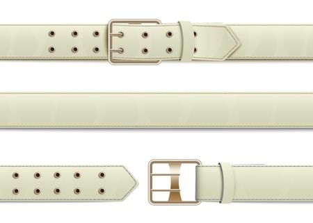 Cintura in pelle bianca abbottonata, aperta e chiusa con fibbia in metallo, accessori moda realistici ed elementi di abbigliamento, illustrazione vettoriale isolata. Vettoriali