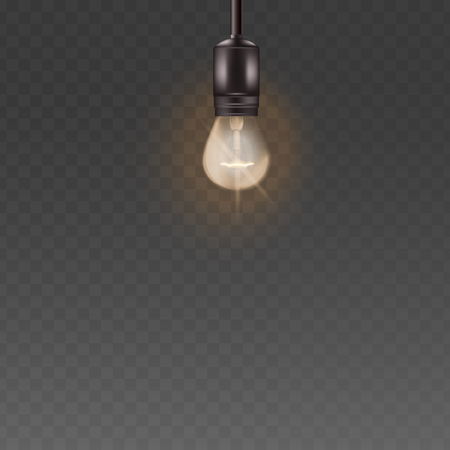 Light bulb or glass electric lamp in the retro style hanging on the cord the interior lighting element, vector 3d realistic illustrations isolated on transparent background.