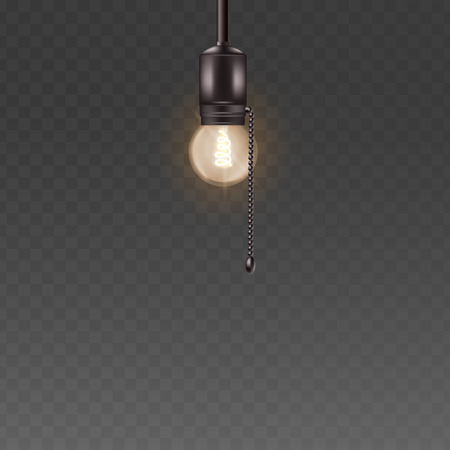 Light bulb hanging on the short cord the interior vintage lighting element vector 3d realistic illustrations isolated on transparent background. Glass electricity lamp. Ilustração