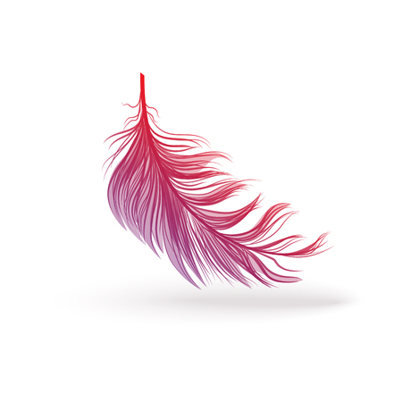 Flying and falling fluffy feather from the wing of a fantastic bird. Icon with pink gradient and shadow. Single violet and pink feather silhouette, isolated vector illustration. Illustration