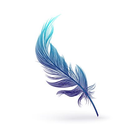 Hermosa pluma fantástica con ala de pájaro. Silueta de plumas azules mullidas con degradado y sombra. Ilustración aislada del vector del icono de la pluma de pájaro.