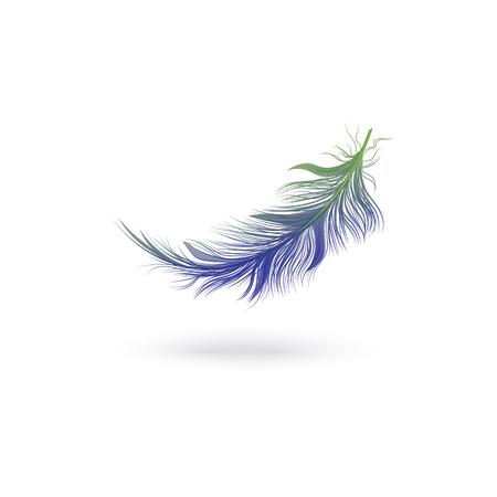 Volare e cadere lanuginosa piuma blu dall'ala di un uccello fantastico, icona singola illustrazione vettoriale isolata. Vettoriali