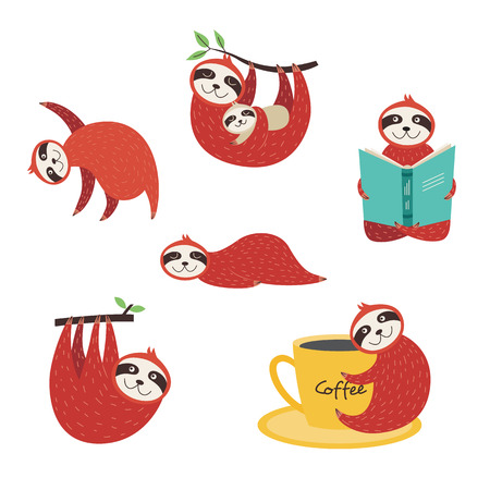 Set of cute cartoon sloths in different positions - reading book, taking nap with mother, sleeping on floor, hanging from tree, dancing, isolated vector illustrations on white background Ilustração