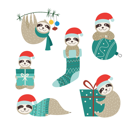 Set of Christmas sloths in different positions. Collection of cartoon baby animals in Santa hat sleeping, giving gifts, hanging from tree, isolated vector illustration on white background. Illustration