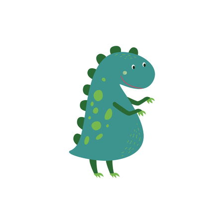 Cartoon baby dinosaur or cute dragon vector flat illustration isolated on white background. Prehistoric funny animal for any fantasy and childrens design.