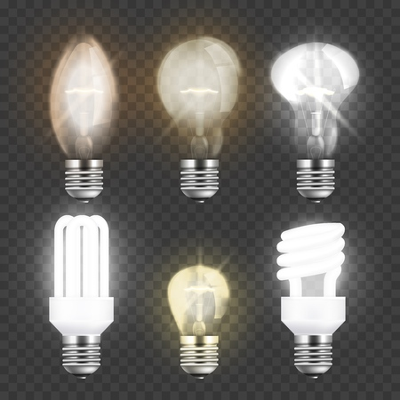 Set of realistic electric light bulbs, different types of glass or fluorescent lightbulbs for high energy electricity lamps isolated on transparent background, vector illustration