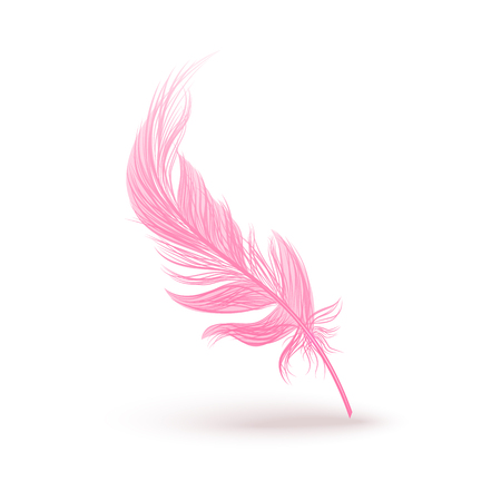 Single pink fluffy birds feather falling vertically and dropping a shadow, 3d realistic vector illustration isolated on white background. Swan or other birds smooth feather.