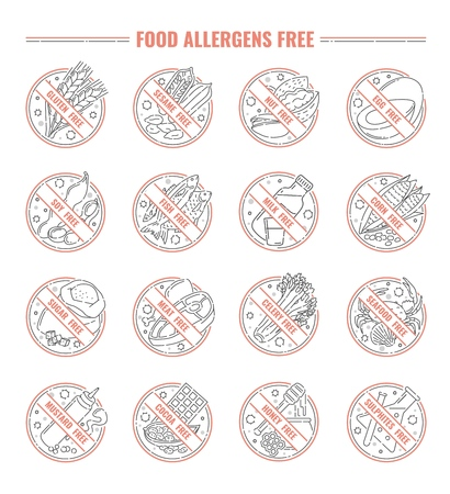 Food allergen label set isolated on white background. Coloring book version of round stickers with no allergy ingredient information, flat cartoon vector illustration