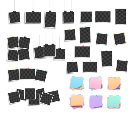 Set of realistic hanging and pinned retro square templates and photo and photography frames, paper stickers and pins isolated on a white background, vector illustration.