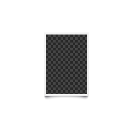 Rectangular checkered empty template and photo frame in realistic style. Vertical blank picture frame for a photo, card or image. Isolated photo frame vector illustration.