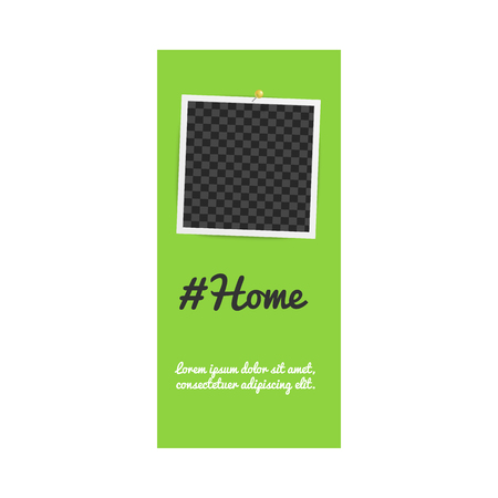 Realistic template and photo frame for stories on social networks with hashtag home and pins on green background. Empty template and photo frame for stories. Isolated vector illustration.