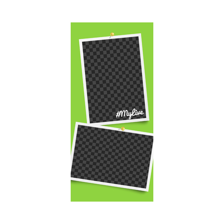 Realistic template and checkered photo frame for stories on social networks and media with pins on green background, vector illustration. 向量圖像