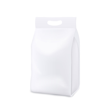 Blank white realistic 3d mockup and template of a plastic bag, pouch and package with handle for pets food and detergent, chips and snack. Isolated realistic vector illustration of mock up.
