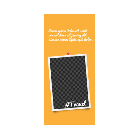 Realistic template and photo frame for stories on social media with hashtag travel and pins on orange background. Blank template and photo frame for stories, isolated vector illustration.