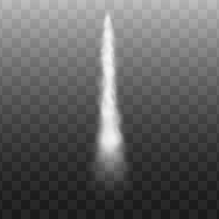Realistic smoke and jet, air and cloud from motion of airplane and rocket on transparent background. Realistic vector illustration of smoke and jet.