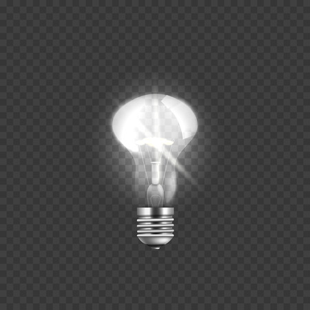 Realistic glowing light bulb and incandescent glass lamp, electricity and energy on transparent background, vector illustration.