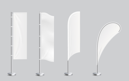 A set of four blank promotional feather flag stand banners mockup. Outdoor billboards or wind banners template in four shapes rounded and rectangular vector illustration isolated on transparent background. Illusztráció