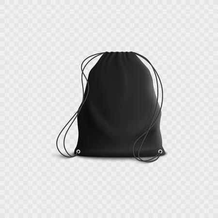 Sac à dos noir avec cordon de serrage, maquette de sac de sport vierge réaliste avec sangles en corde. Illustration de vecteur 3D isolé isolé sur fond blanc transparent.