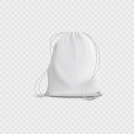 Realistic 3d white blank bag and backpack with drawstring on a transparent background. Realistic 3d vector illustration of backpack with drawstring. Stock Illustratie