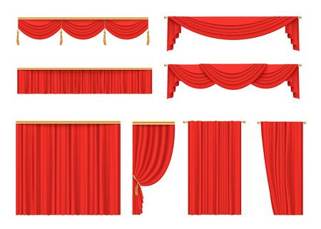 Conjunto de cortinas de terciopelo rojo para el escenario del teatro, decoración de estreno de la noche de apertura para cine o evento de presentación, cortinas de tela escarlata y cenefa, ilustración vectorial aislada sobre fondo blanco