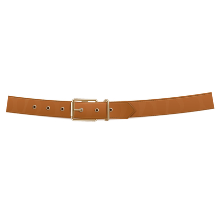 Realistic brown buttoned trouser leather belt with a metal buckle. Fashion accessory, design element. Isolated vector illustration of a belt with a buckle. 일러스트