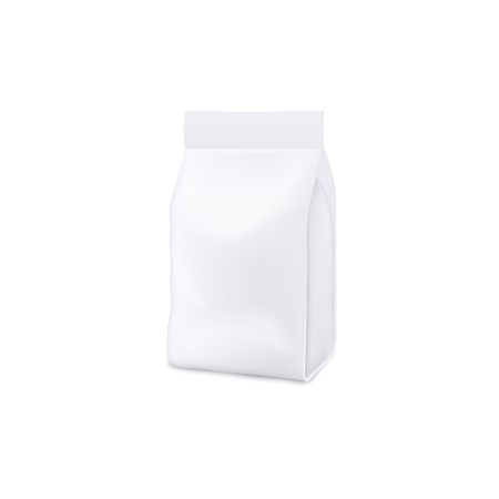 Blank white realistic 3d mockup and template of a plastic bag, pouch and package. Mock up of bag and pouch for pets food and detergent, chips and snack. Isolated vector illustration of mock up.