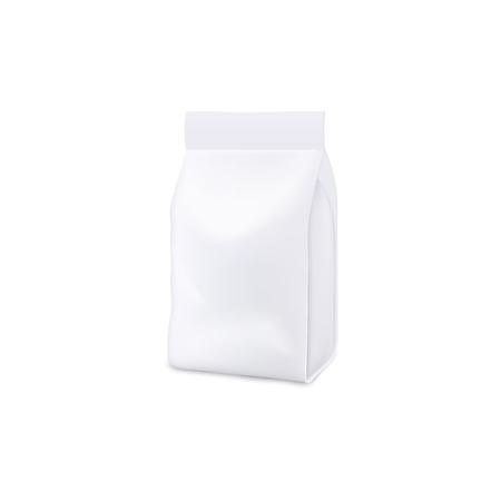 Modello 3d realistico bianco vuoto e modello di un sacchetto di plastica, un sacchetto e un pacchetto. Mock up di borsa e sacca per cibo e detersivo per animali domestici, patatine e snack. Illustrazione vettoriale isolato di mock up.