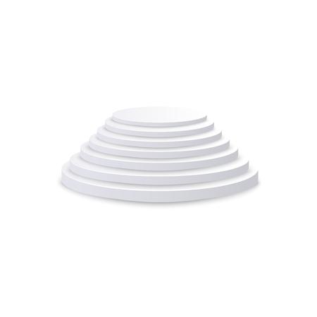 Scala rotonda bianca realistica, scala e scala con vista diritta, elemento di architettura e interni. Illustrazione 3d di vettore isolato della scala realistica.