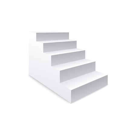 Side view of white realistic stair and staircase, concept of business and career success, climbing to the top. Element of architecture and interior. Isolated vector illustration of realistic stair.