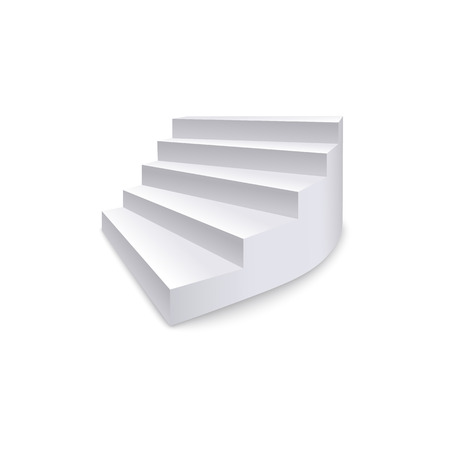 Realistic staircase, ladder and stair with side view, isolated interior vector illustration on white background.