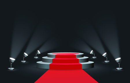 Empty round podium with red carpet illuminated by spotlights realistic style, vector illustration on dark background. Blank stepped platform pedestal for award ceremony