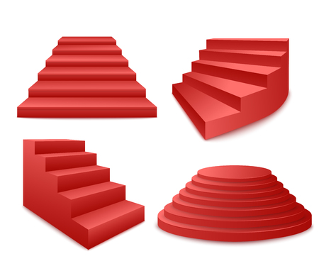 Festive events red stairs and podium or pedestal 3d realistic vector illustrations set isolated on white background. Staircase stage award ceremony icon.
