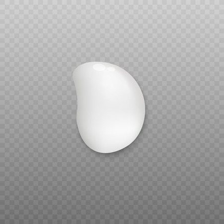 White cream blob with realistic liquid texture. Beauty product sample drop isolated on transparent background, face skin lotion or hand cream vector illustration