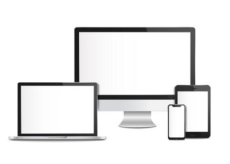 携帯電話とタブレット、デスクトップモニターとラップトップの画面、テンプレートやモックアップを持つ現実的な空白のコンピュータデバイス。コンピュータ機器やスマートフォン、3Dガジェット、ベクトルイラスト。