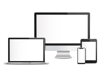 Realistic blank computer devices with screens, templates and mockups of mobile phone and tablet, desktop monitor and laptop. Computer devices and smartphone, 3d gadget, vector illustration. Vettoriali