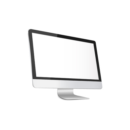 Modern computer monitor with blank white screen - realistic 3D mockup. Silver PC with empty flat display seen from sideways, isolated template vector illustration on white background.