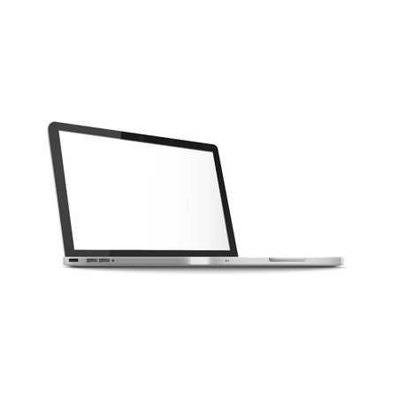 Mockup of side view open laptop with blank screen realistic style, vector illustration isolated on white background. Template of notebook computer with clean monitor in three-quarter view