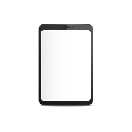 Black tablet mockup with blank white screen, realistic digital device display isolated on white background. Modern technology equipment border - vector illustration Ilustração