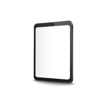 Modern tablet with blank screen - realistic mockup of empty display on black digital device from side view. Vector mock up illustration isolated on white background