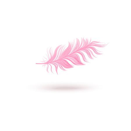 Piuma di uccello galleggiante rosa isolata su priorità bassa bianca. Soffice piuma d'ala leggera che vola in aria, oggetto pastello femminile con trama realistica - illustrazione vettoriale disegnata a mano Vettoriali