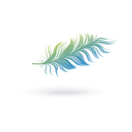 Green and blue fluffy feather floating in air, isolated light plume from bird wing flying horizontally. Single object with realistic texture and shadow, vector illustration on white background.