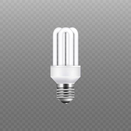 White fluorescent stick light bulb isolated on transparent background. Eco-friendly and electricity conservation screw lightbulb with three rounded tubes, realistic vector illustration 向量圖像