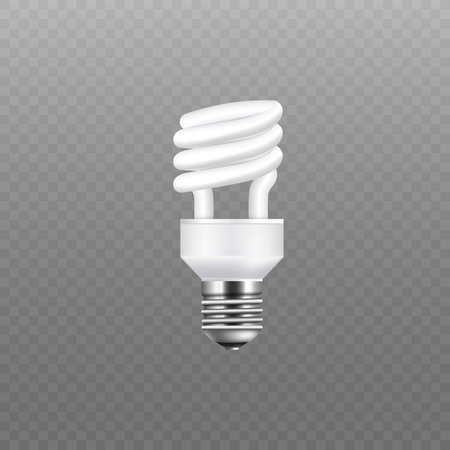 Realistic energy saving lamp and white light bulb. Electricity and single spiral lamp and light bulb on transparent background, vector illustration.