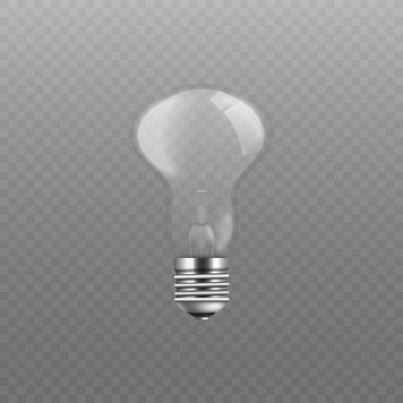 Transparent glass light bulb vector illustration, shiny screw lightbulb with no electricity, symbol of idea or inspiration, realistic isolated drawing with 3D glossy texture Illustration