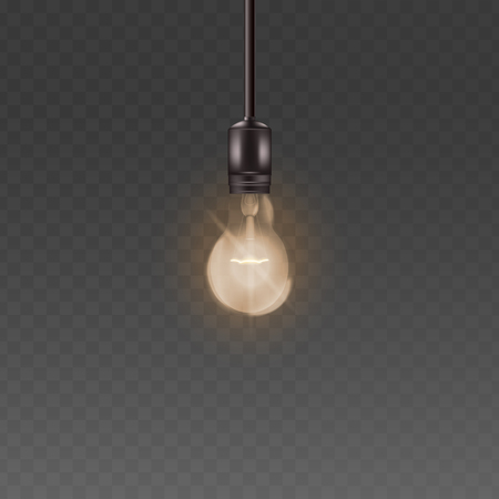 Ceiling lamp light bulb with bright warm light, realistic loft style glass lightbulb with electricity and glowing wire hanging from above, vector illustration isolated on transparent background