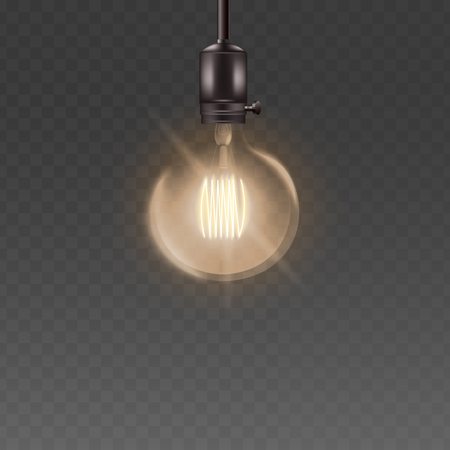 Round glass light bulb ceiling lamp with electricity, dome shape loft style lightbulb hanging from above with high energy bright zigzag wire, energy or idea symbol - isolated vector illustration Stock fotó - 128170388