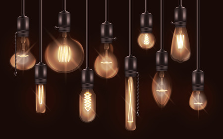 Various shapes light bulb interior vintage lighting set of vector 3d realistic illustrations isolated on dark background. Glass electricity lamps element of indoor design. Ilustracja