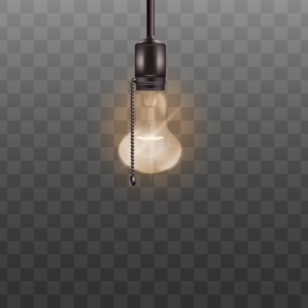 Lit light bulb ceiling lamp with switch rope isolated on transparent background. Realistic glass lightbulb with bright glowing fuse, symbol of electricity power and new idea - vector illustration